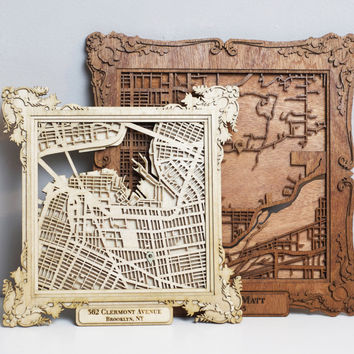 """CUSTOM Laser Cut Wood Map with Personalized Frame- 10"""""""