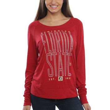 Florida State Seminoles Women's Burnout Meshey Long Sleeve Raglan T-Shirt – Cardinal