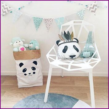 INS New International Skating Panda Head Cushion Pillow Doll Baby Room Decoration Parent-Child Toys Pillow