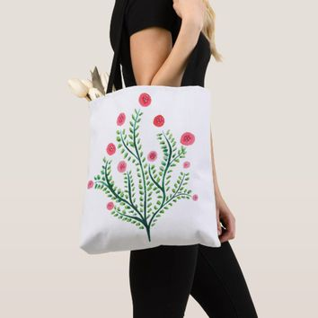 Abstract Spring Plant Pink And Green Ink Drawing Tote Bag