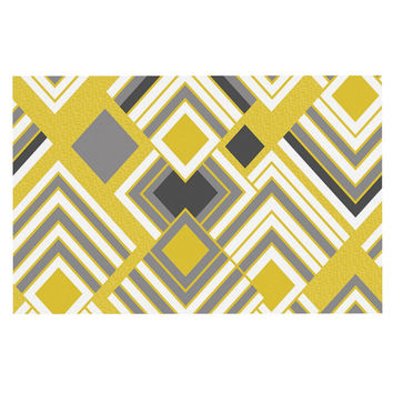 "Jacqueline Milton ""Luca - Gold"" Yellow Gray Decorative Door Mat"