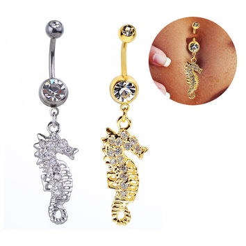 New Charming Dangle Crystal Navel Belly Ring Bling Barbell Button Ring Piercing Body Jewelry = 4672661124