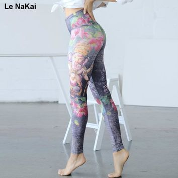 Le NaKai Retro Floral Printed yoga legging for women Lotus print elephant budda print sports jogging trousers fitness yoga pants