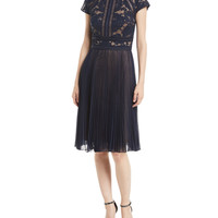 Tadashi Shoji Cap-Sleeve Lace Cocktail Dress w/ Pleated Chiffon
