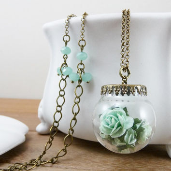 Mint green necklace, Pale green flower, Paper roses, Crystal jewelry, Crystal ball