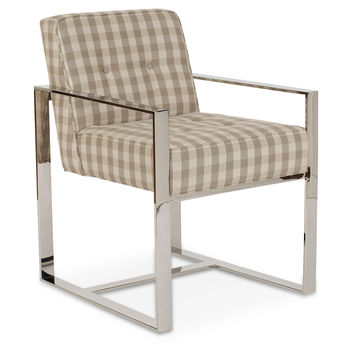 Veneto Plaid Armchair, Beige, Acrylic / Lucite, Arm Chairs