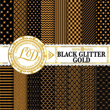 Black Glitter Gold Paper Pack, chevron, Black and gold, polka dots, stripes, Scrapbook Paper and Backgrounds Commercial-Personal Use