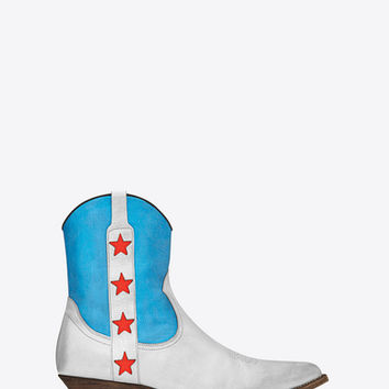Santiag 40 Star Camargue Cropped Boot in Silver, Turquoise and Red Metallic Leather