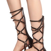 Black Faux Leather Cross Strap Gladiator Sandals @ Cicihot Sandals Shoes online store sale:Sandals,Thong Sandals,Women's Sandals,Dress Sandals,Summer Shoes,Spring Shoes,Wooden Sandal,Ladies Sandals,Girls Sandals,Evening Dress Shoes