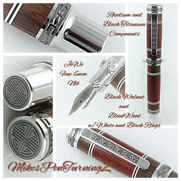 Custom Wooden Pen Beautiful Bloodwood and Black Walnut and White and Black Rings Western Emperor MPZ Rhodium and Black Titanium 812FPXLB