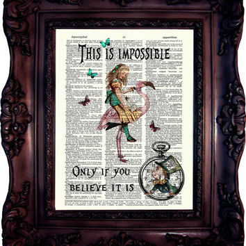 Alice in Wonderland Decor Alice in wonderland Quote Alice in Wonderland Print Dictionary art print Print on book page Alice quote Code:608