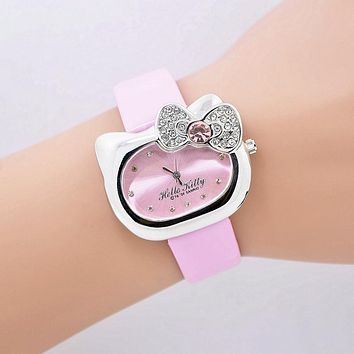 Lovely Hello Kitty Cartoon Watch Women Crystal Rhinestone Dress Watch Xmas Gift Girls Quartz Watch relogio feminino