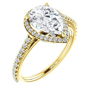 2.0 Ct Pear Halo-style Diamond Engagement Ring 14k Yellow Gold