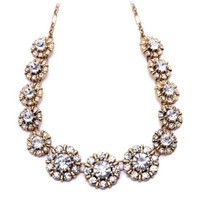 Gold Floral Design Rhinestone Statement Pendant Necklace