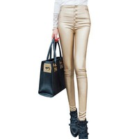 Women's Leggings PU Leather High Waist