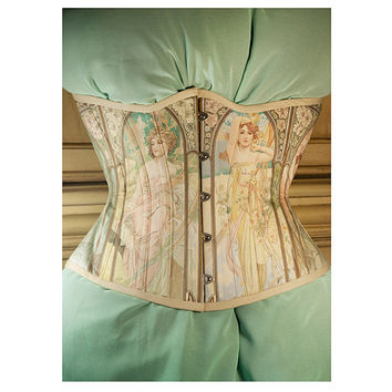 Alfons Mucha Corset, Time of the Day, Historical, Art history, Mucha, art nouveau, underbust corset by RetroFolie