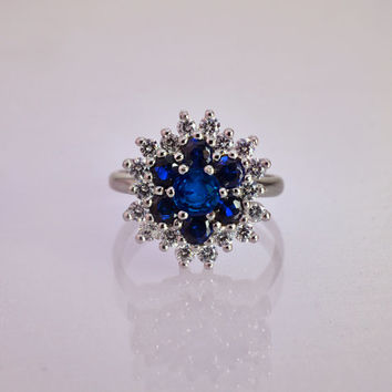 Diana Engagement Ring, Unique Engagement Ring, Vintage Engagement Ring, Antique Engagement Ring, Cluster Diamond Engagement Ring, Sapphire