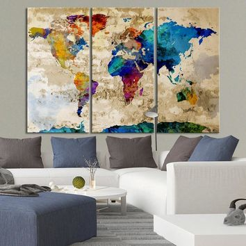 Canvas Art Print Watercolor World Map - Contemporary 3 Panel Triptych Colorful Rainbow Colors Large Wall Art