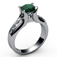 Emerald Engagement Ring 18K White Gold Tension Ring