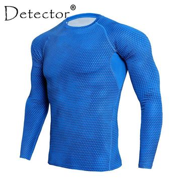 Mens Compression Exercise Workout Fitness Shirts Bodybuilding Skin Tight Long Sleeves Jerseys Clothings MMA Crossfit Sportswear