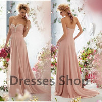 New Style Pink Chiffon Long Bridesmaid Evening Gowns Formal Wedding Prom Dresses Custom US 2 4 6 8 10 12 14 16