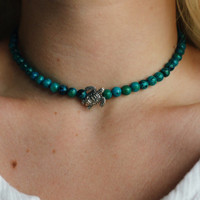 Australian Sapphire Sea Turtle Beaded Glass Choker