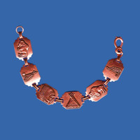 Fred Harvey Era Copper Souvenir Bracelet, Route 66, Old West, Road Trip, Family Vacation, 1940s or early 50s