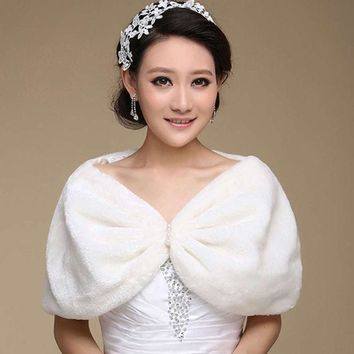 MDIG9GW Best Deal New Fashion Elegant Faux Fur Wrap Shrug Bolero Shawl Cape Bridal Wedding Jacket Ivory Plush Pashmina Gift 1PC