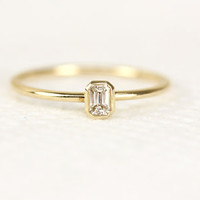 Emerald Cut Diamond Engagement  Ring In Bazel Setting, Simple Dainty Engagement Ring In 14k Yellow  Gold,Wedding Ring,Stacking Bazel Setting