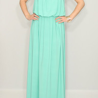 Long mint dress Bridesmaid dress Mint green dress