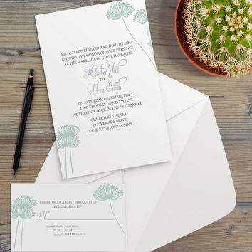 Instant Download - Dandelion Silhouette Spring Garden Shabby Chic Floral Wedding Bridal Shower Birthday Party Invitation RSVP Template