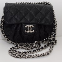 CHANEL Washed Lambskin Quilted Small Chain Around Black W/palladium Hardware Cross Body Bag