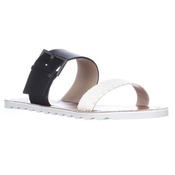 Vince Camuto Motter Fisherman Flat Slide Sandals - New Ivory/Black