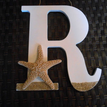 Wooden Letter - Starfish Decor - Beach House Decor - Starfish Wedding - Beach Wedding Decor - Nautical Decor