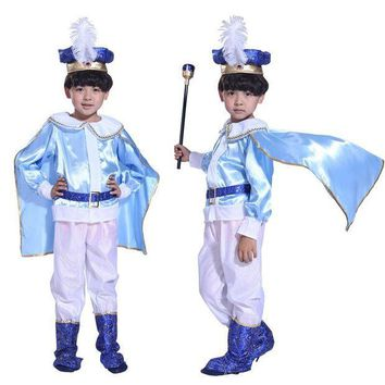 CREY6F Halloween Christmas Children boy king handsome prince blue costume masquerade costumes performing