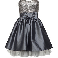 Elise Ryan Silver Sequin Bow Prom Dress