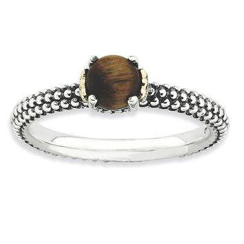 Sterling Silver & 14k Gold Stackable Expressions Tiger's Eye Antiqued Ring