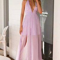V-neck Prom Waisted Dress