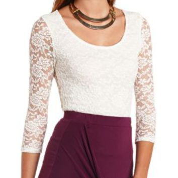 1233d5ce772 Three-Quarter Sleeve Lace Crop Top by from Charlotte Russe