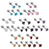 5pcs/lot Stainless Steel Tragus Earrings Mixed Design Crystal Cartilage Piercing Ear Stud Gem Ear Tragus Piercings Body Jewelry