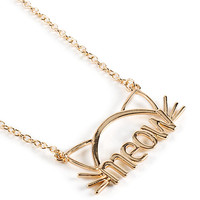 Stone + Locket Gold Cat Ears Meow Necklace