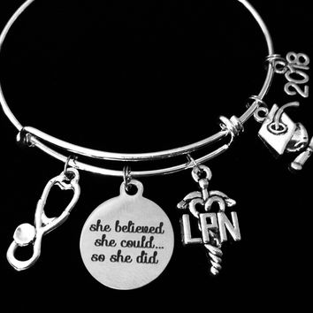 LPN Jewelry She Believed She Could So She Did Expandable Charm Bracelet Bangle Silver One Size Fits All Gift Nurse Graduation Present