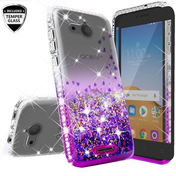 Alcatel Tetra Case Liquid Glitter Phone Case Waterfall Floating Quicksand Bling Sparkle Cute Protective Girls Women Cover for Tetra - Purple