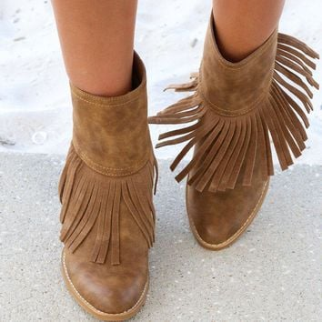 Very Volatile Khloe Tan Fringe Booties Chunky Wedge Heel