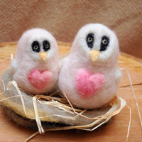 Needle felt animals Owls in nest. Owls with heart  Mother and child owls Home decor Dollhouse
