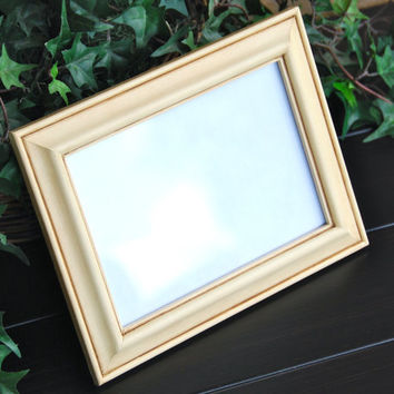 Shabby chic home decor: Vintage dark antique ivory 5x7 decorative hand-painted wooden tabletop picture frame with easel back
