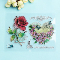 Transparent Silicone Rubber Clear Stamp |  Rose Heart  Flower for Scrapbook DIY Album Cards