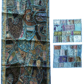 Banjara Wall Tapestry Patchwork Beaded Blue Decorative Wall Hanging With Cushion Cover Table Throw: Amazon.ca: Home & Kitchen