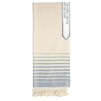 New Wool Tallit - Fading Turquoise Ocean Blue Stripes