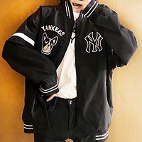 NY MLB Fashionable Women Men Casual Zipper Cardigan Jacket Coat Sweatshirt Windbreaker